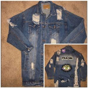 Kylie Rae distressed jean jacket ! With Artwork!